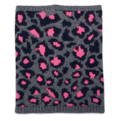 100% Cashmere Leopard Print Snood - Electric Pink & Grey