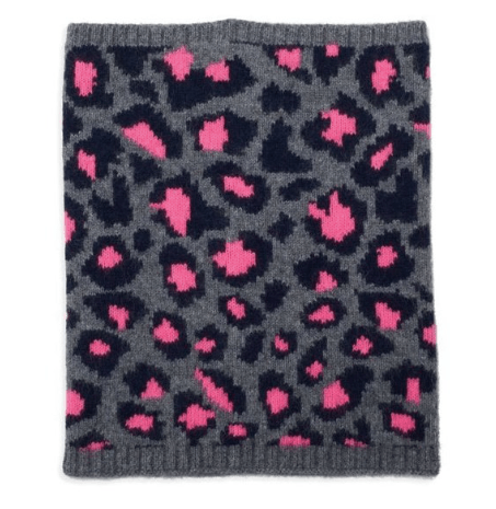 Hot Pink & Grey Leopard Print Cashmere Snood Somerville Scarves