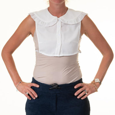 Woman wearing Detachable Large White Elegant Faux Collar With Ruffle Detail & Small Buttons TLM Edit