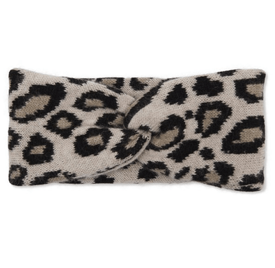 100% Cashmere Knitted Double Layered Leopard Print Headband - Original Leopard Print TLM Edit Somerville Scarves