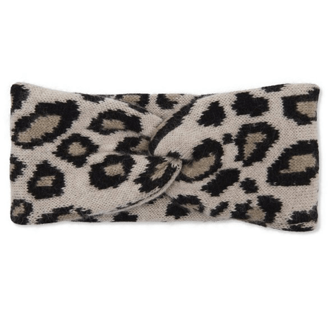 Leopard Print Cashmere Double Layered Knit Headband Somerville Scarves