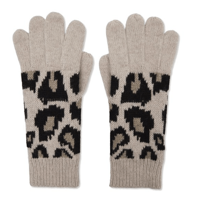 100% cashmere knitted leopard print gloves Somerville Scarves TLM Edit