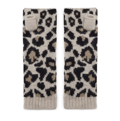100% Cashmere Leopard Print Wrist Warmers - Black and Brown Somerville Scarves