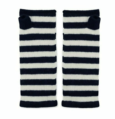 100% Cashmere Breton Striped Wrist Warmers - Navy & White Somerville Scarves