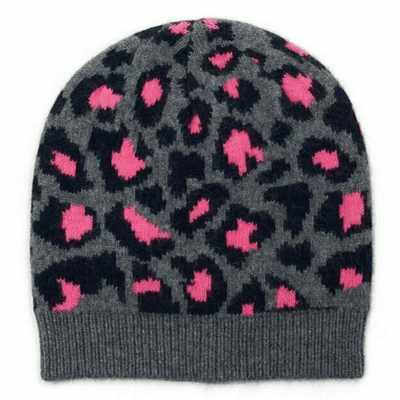 100% Cashmere Leopard Print Beanie Hat With Ribbed Finish - Electric Pink & Grey Somerville Scarves