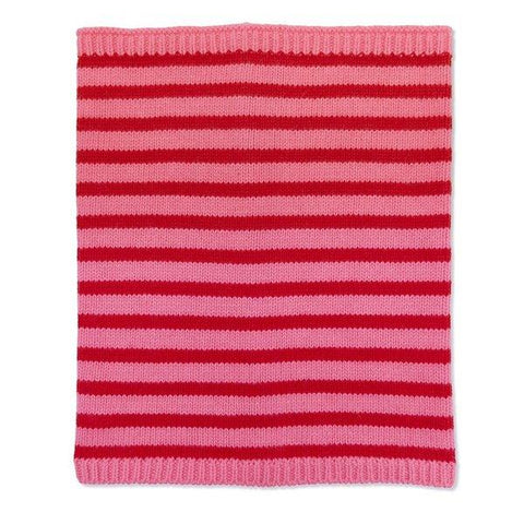 Red & Pink Breton Stripe Cashmere Snood Somerville Scarves