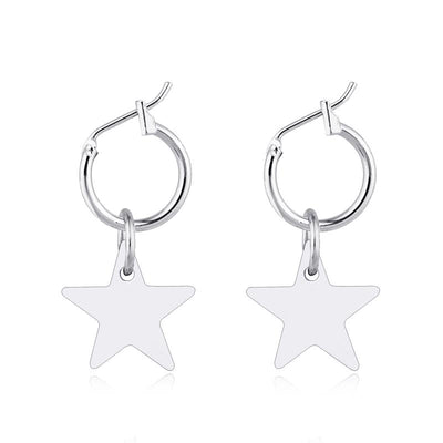 Silver Star Drop Earrings Earrings TLM Edit