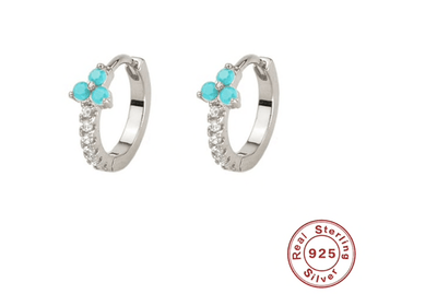 Silver & Turquoise Jewelled Huggies TLM Edit