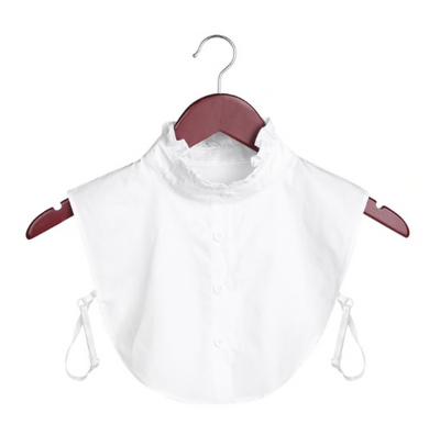 White Frill Light Ruffle Faux Detachable Collar With Button Detail TLM Edit