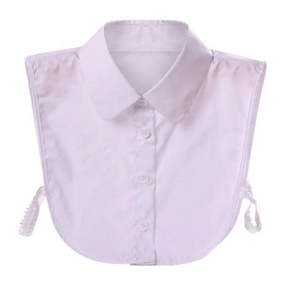 White Detachable Peter Pan Shirt Faux Collar With Buttons & Straps TLM Edit