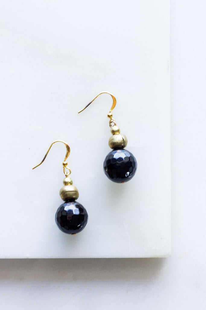 Faceted Glass Brass Earrings