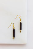 Brass + Ebony Tube Earrings