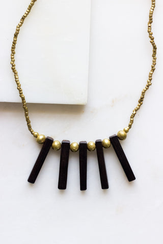 Brass Bead + Ebony  Tube Necklace