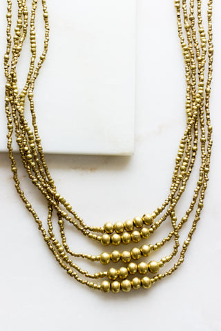 Black Cord + Brass Necklace