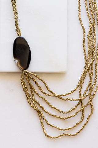 Brass 3 Bar Dangle  + Ebony Necklace