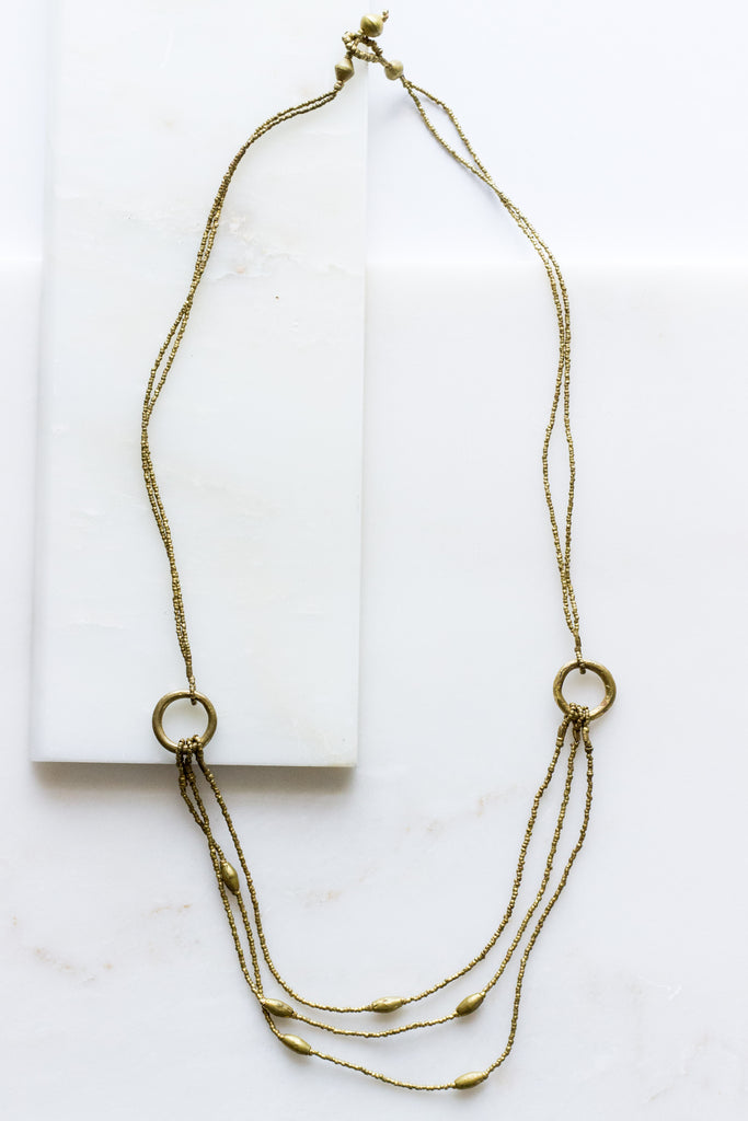 Double Ring Brass Necklace
