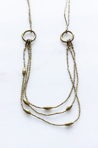 Double Wrap Silver Disk + Brass Necklace