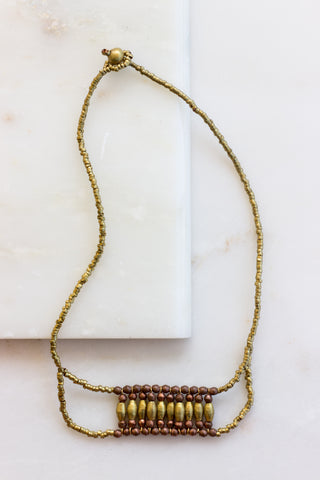Ebony and Brass Double Strand Choker
