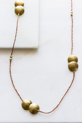 Brass + Ebony Tube  3 Strand Necklace