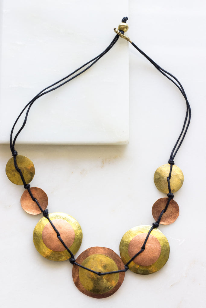 Brass + Copper Disk Necklace