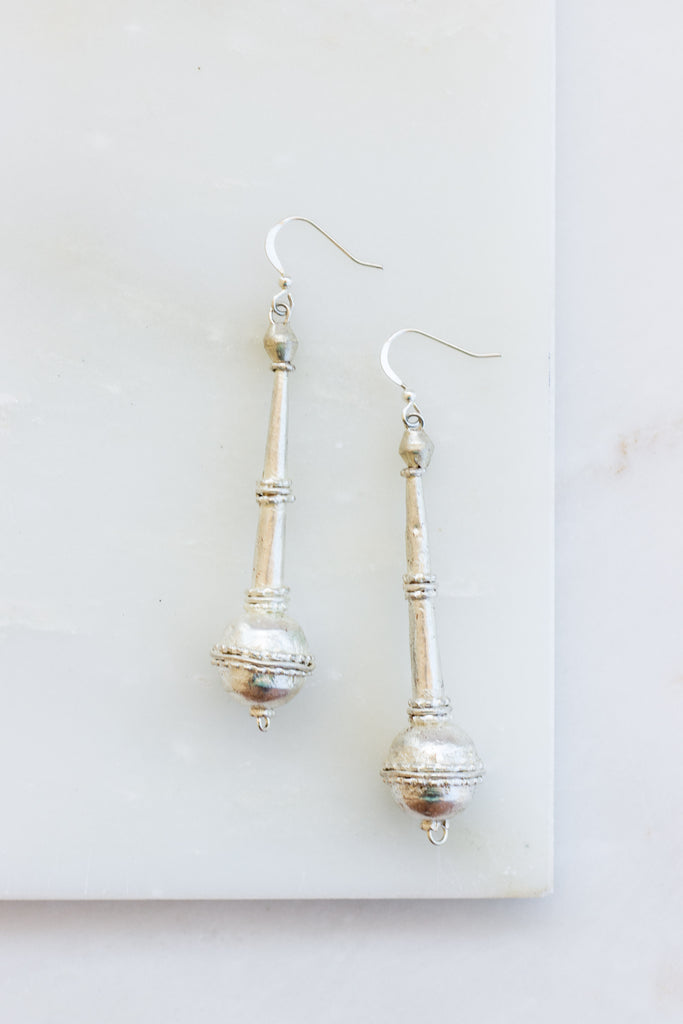 Long Pendant Silver Earrings