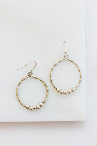 Copper Disk + Silver Bead Earrings