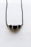 Silver + Ebony Bead Long Necklace