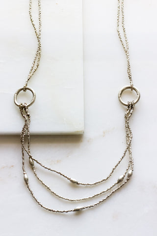 Short Lariat Silver Necklace