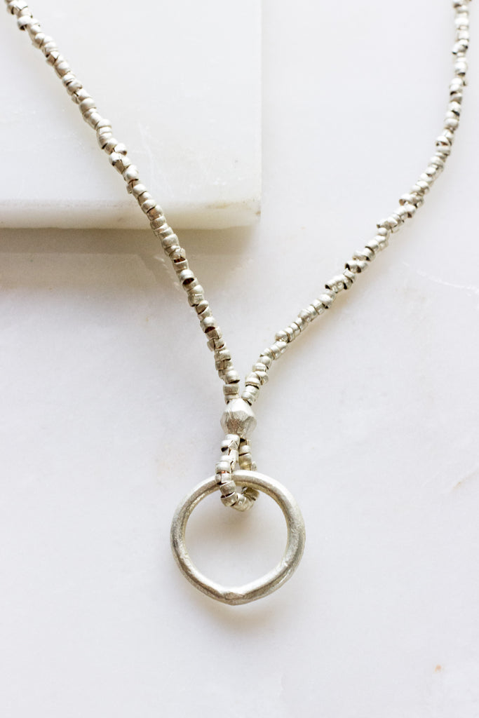 Single Ring Silver Necklace