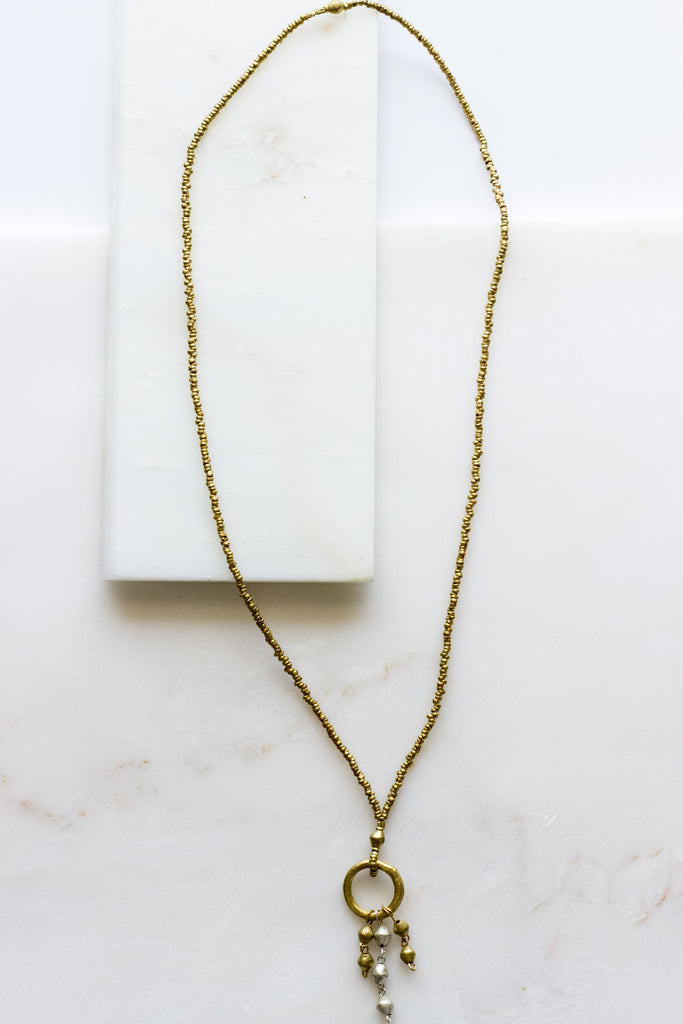 Brass Ring Fringe Necklace