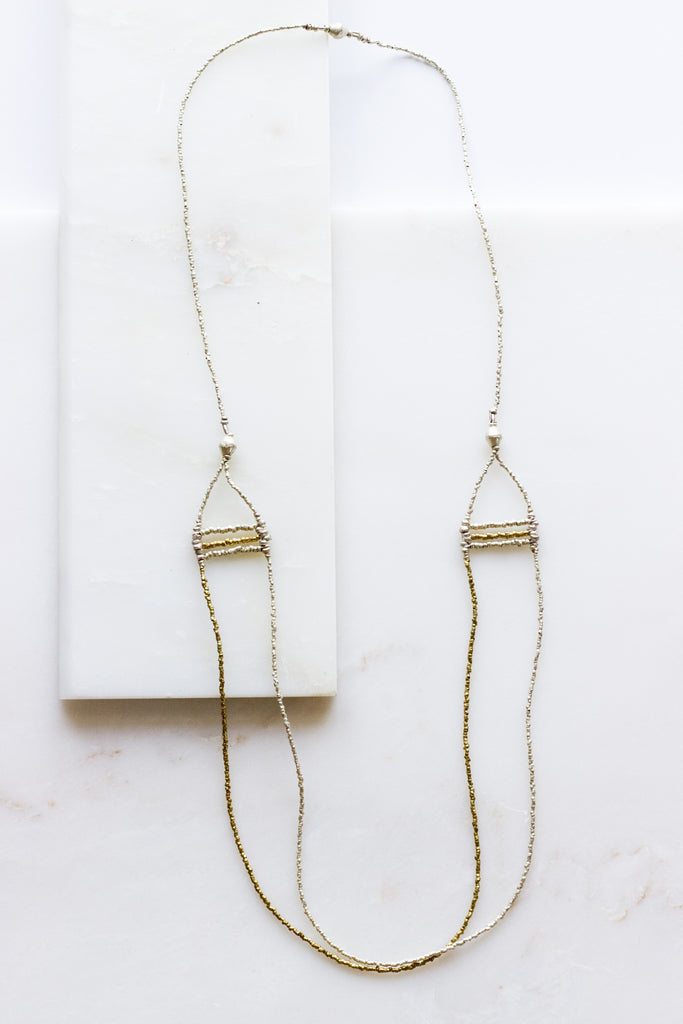 Brass Accent SIlver Drop Necklace