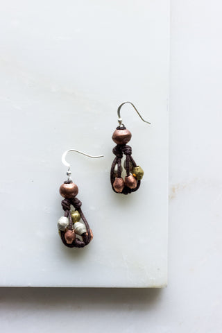 Brown Cord Silver Fringe Earrings