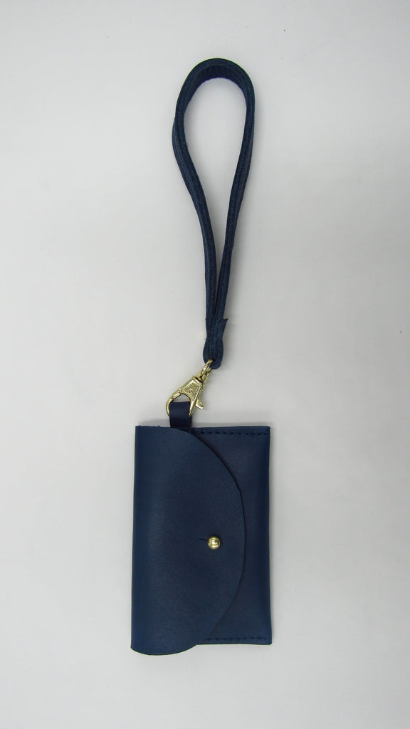 Blue Card Case Wristlet