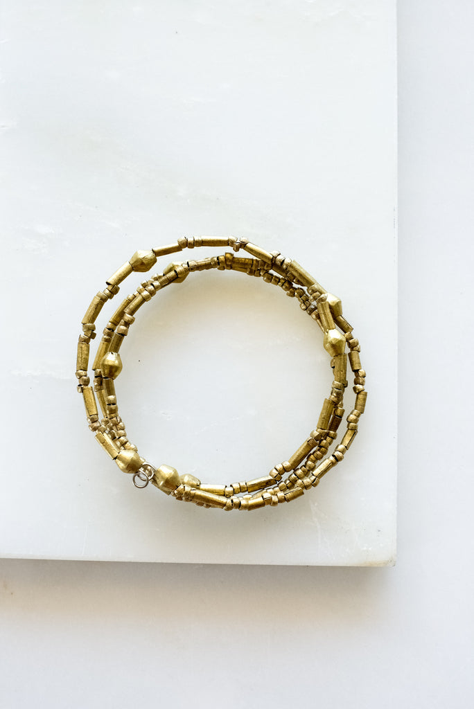 Lubaba Brass Triple Wrap Bracelet