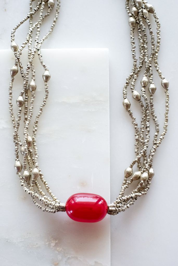 Red Bead Statement Necklace