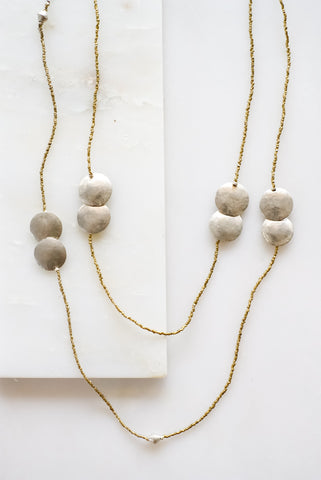 Double Coin Silver Necklace