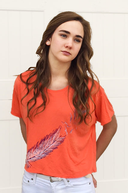 Coral Feathers Half Shirt