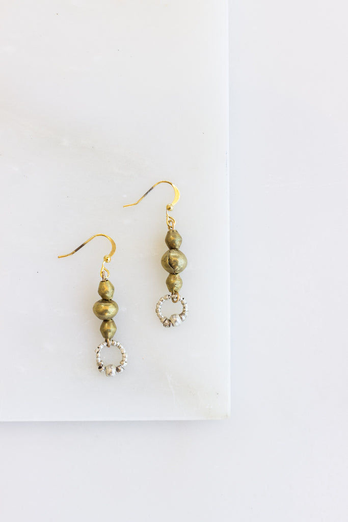 Petite Circle Brass + Silver Earrings