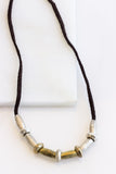Leather Barrel Silver + Brass Necklace