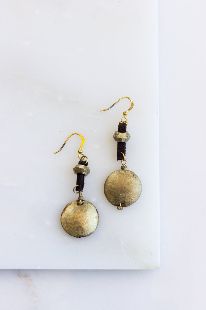 Leather + Brass Disk Earrings