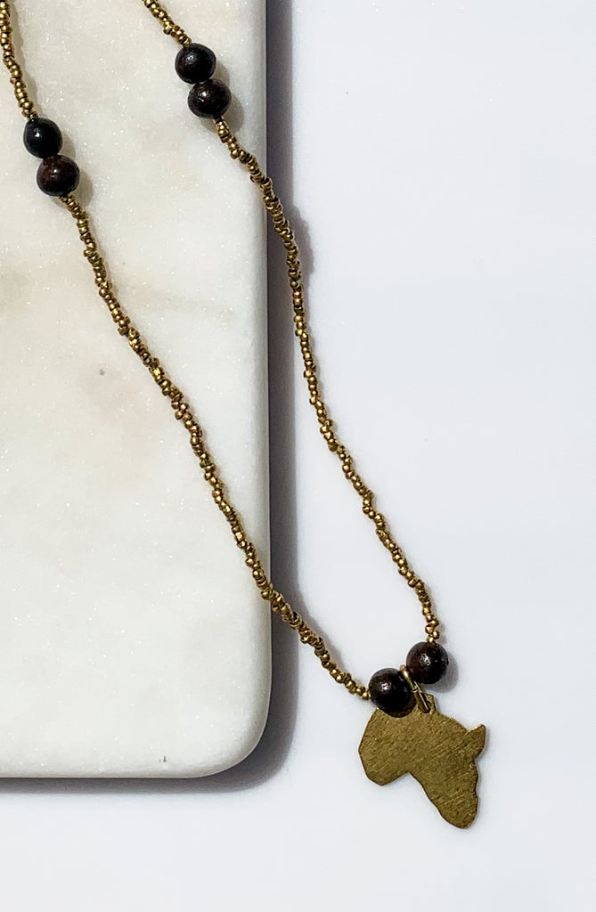 Brass Africa Pendant Necklace