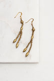 Long Brass Beaded Earrings