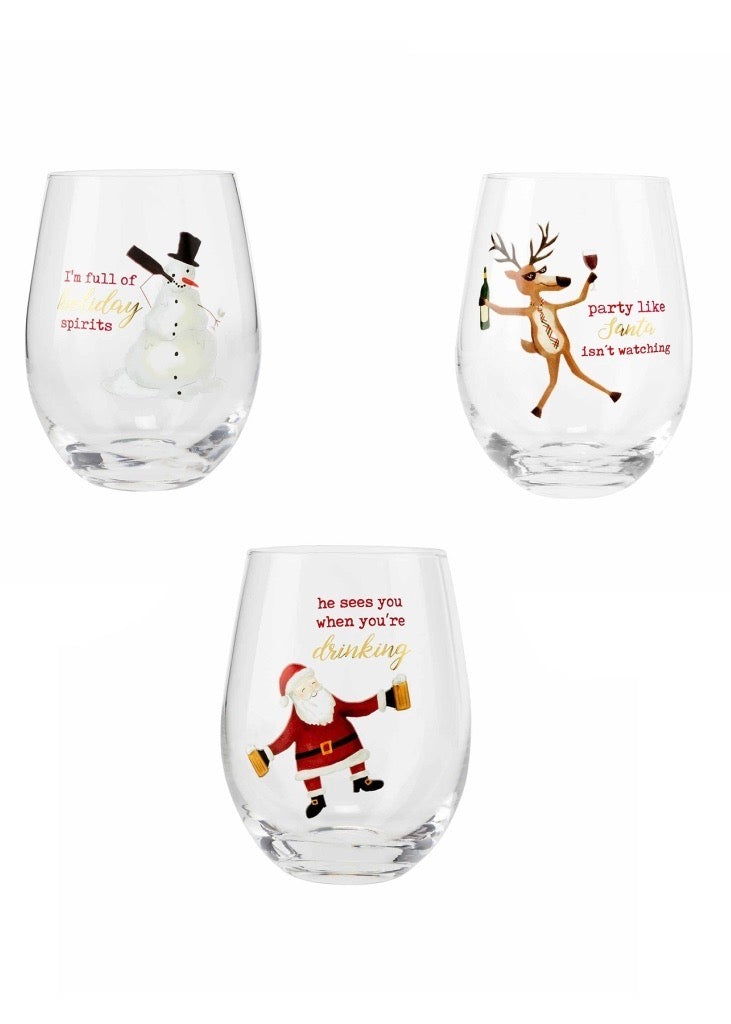 Reindeer Funny Wine Glass