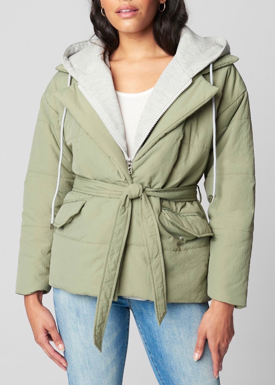 Hooded Quilted Wrap Jacket