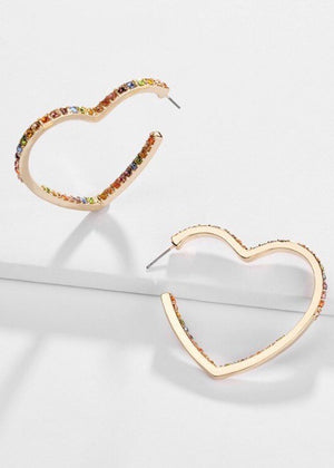Rainbow Crystal Heart Hoop