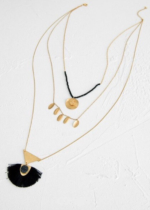 Black Long Tassel Necklace