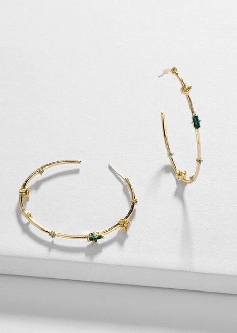 Crystal Studded Hoops