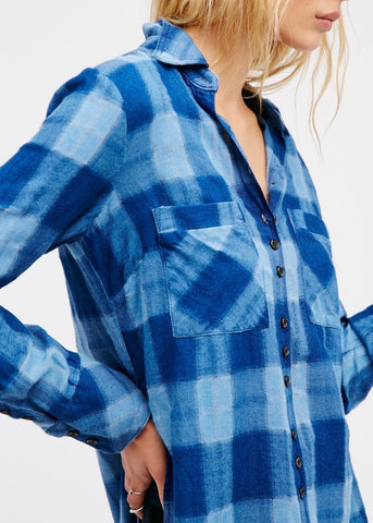 Indigo Plaid Button Down
