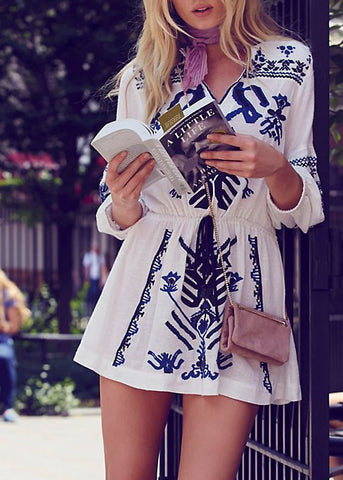 Anouk Embroidered Mini Dress
