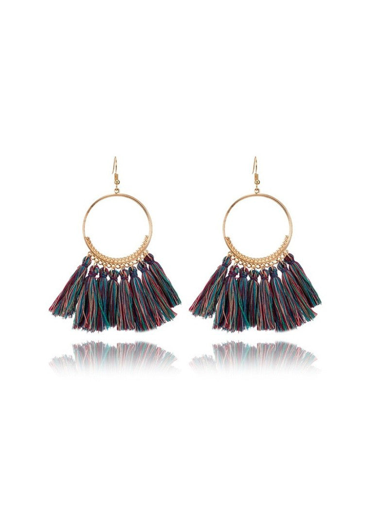 Dark Multi Tassel Earring